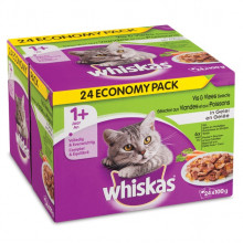 Whiskas 24pack Adult Vis/Vlees in Gelei